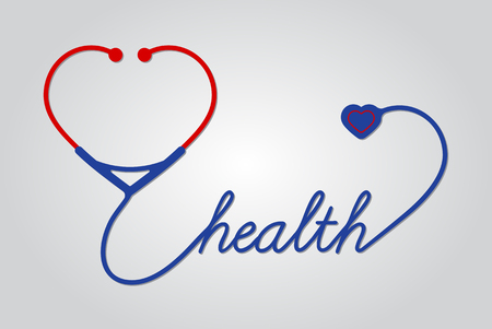 medical symbol: stethoscope with heart, medical symbol, vector