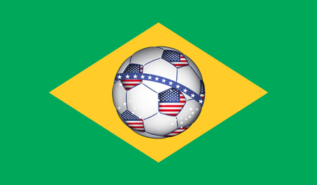 brazilian flag: Brazilian flag with Netherlands soccer ball Illustration