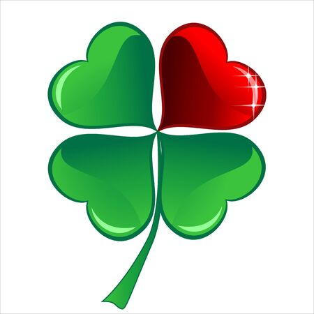 three objects: lucky heart Clover, isolated on white background, clipping path included, vector