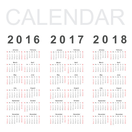 16 17 years: Calendar for 2016, 2017 and 2018 year, vector