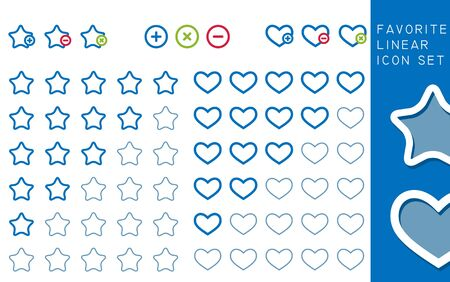 Colored stars and hearts favorite; Icons Set, vector