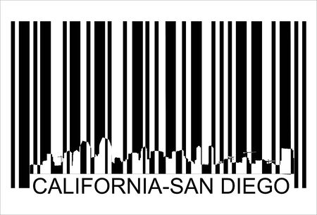 san diego: California San Diego barcode,  Isolated over background and groups, vector ILLUSTRATION Illustration