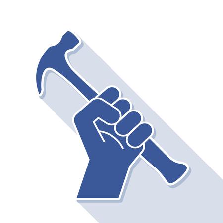fist revolution symbol with hammer, vector