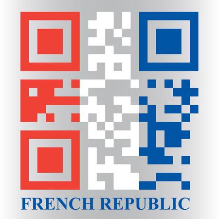 qr code: French QR code flag, vector Illustration