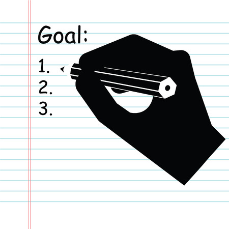 handwriting: Handwriting goals list, vector Illustration