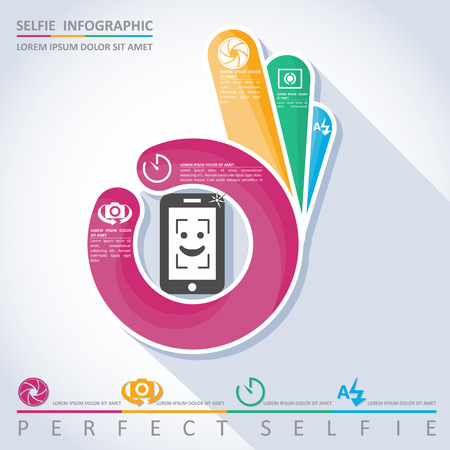 mobile application: Perfect selfie. Camera infographic, vector Illustration