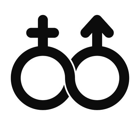 Sin límites símbolo masculino y femenino, vector