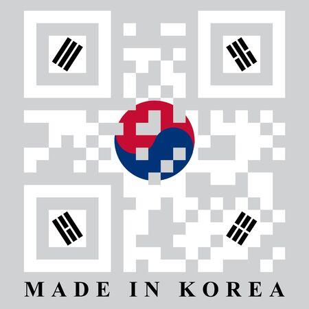 qr code: Korean QR code flag, vector