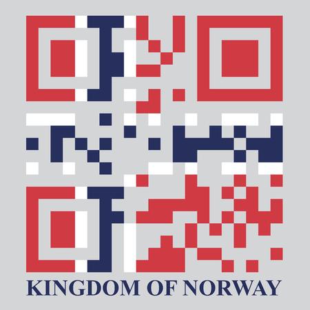 norway flag: Norway QR code flag, vector