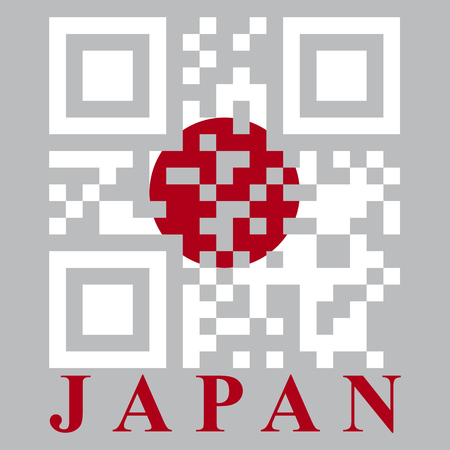 quick response: Japan QR code flag, vector