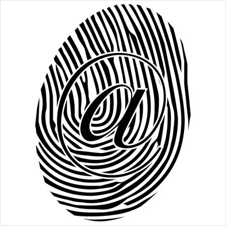 theft proof: Black email finger print isolated on the white background  vector Illustration