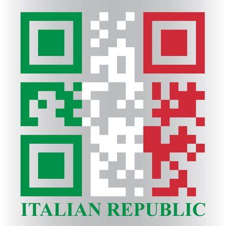 qr code: Italian QR code flag, vector
