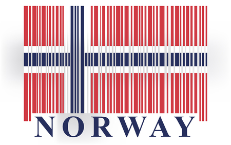 norway flag: Norway barcode flag, vector Illustration