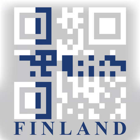qr code: Finland QR code flag, vector Illustration