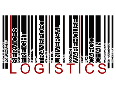 forwarder: colorful  LOGISTICS text barcode, vector Illustration