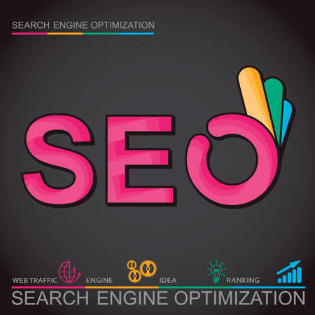 ok hand: Infographic perfect search engine optimization. Concept with OK hand, vector