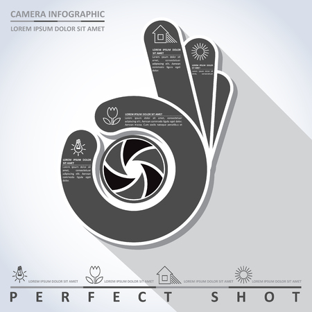 perfect: Perfect shot. Camera infographic, vector