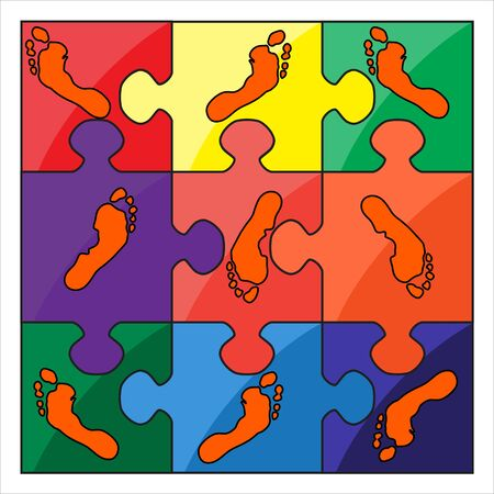 missing link: footprint color vector puzzle Illustration