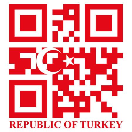qr code: Turkish QR code flag, vector