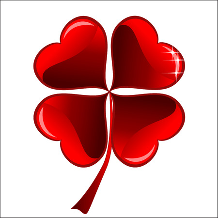 three objects: lucky red heart Clover, isolated on white background, clipping path included, vector