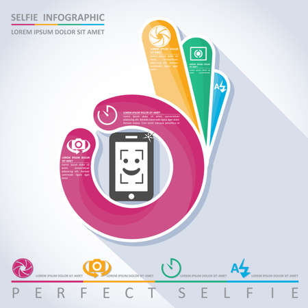perfect: Perfect selfie. Camera infographic, vector Illustration