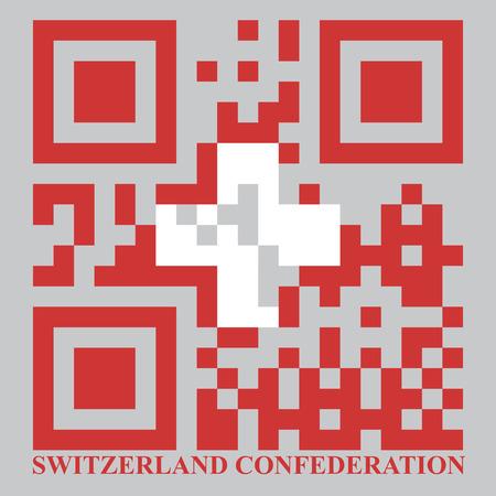 quick response: Switzerland QR code flag, vector