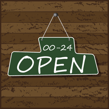 apologize: Hanging Open Sign, vector Illustration