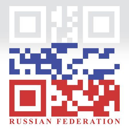 qr code: Russia QR code flag, vector