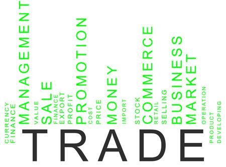 retailing: green trade text barcode, vector