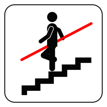 hold high: Use Handrail sign, vector
