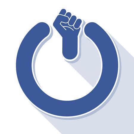 revolt: Power fist button, vector