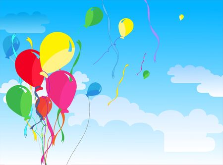 festive occasions: Seven Beautiful Party Balloons Vector Illustration