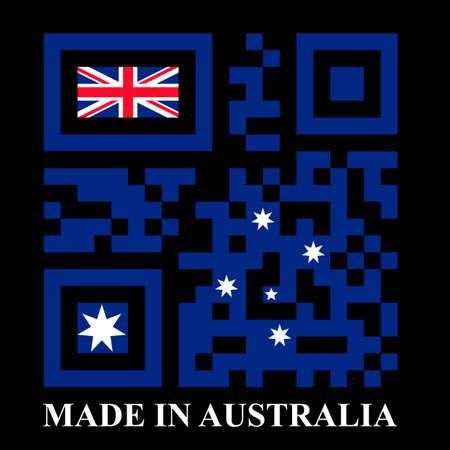 quick response: Australia QR code flag, vector