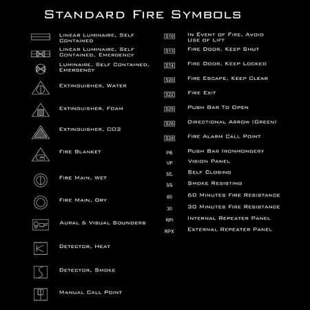 luminary: Standard Fire Symbols, vector Illustration