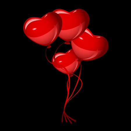 red balloons: bright red heart balloons, vector