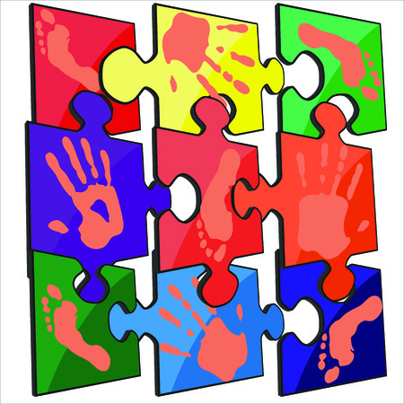 handprint: handprint footprint color vector puzzle Illustration