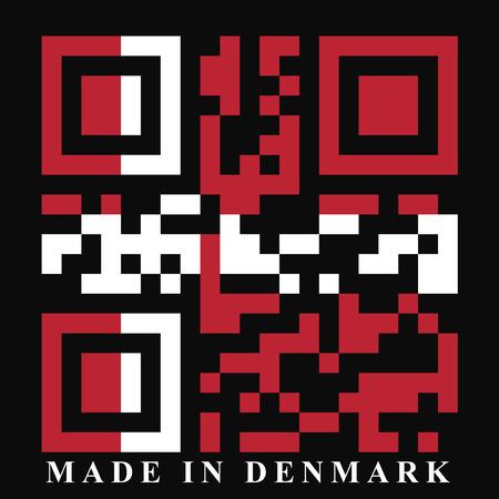 qr code: Denmark QR code flag, vector Illustration