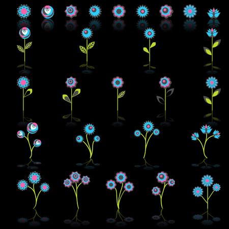 springtime: Colorful springtime flowers set, vector Illustration
