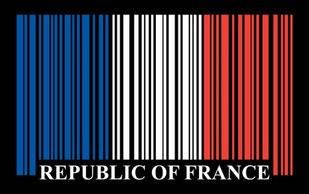 french flag: French barcode flag, vector