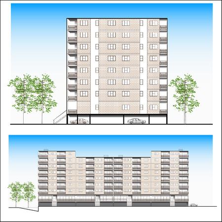 facade. Habitation building - vector Vetores