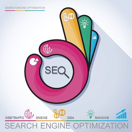 emarketing: Infographic perfect search engine optimization. Concept with OK hand, vector