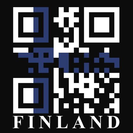 quick response: Finland QR code flag, vector Illustration