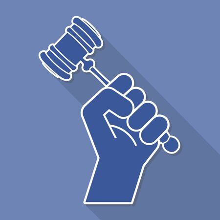 proceeding: judge gavel in hand symbol, vector