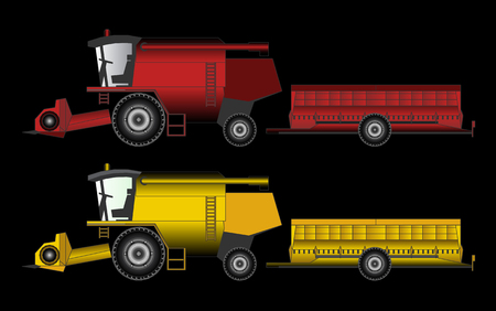 harvester: harvester tractor agricultural equipment, vector