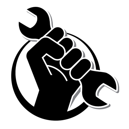 fist revolution symbol with wrench, vector