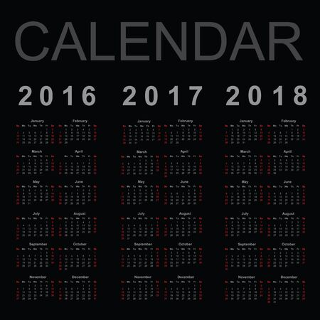 Calendar for 2016, 2017 and 2018 year, vector