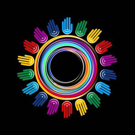 interaccion social: corolful mano planeta conestion Vectores