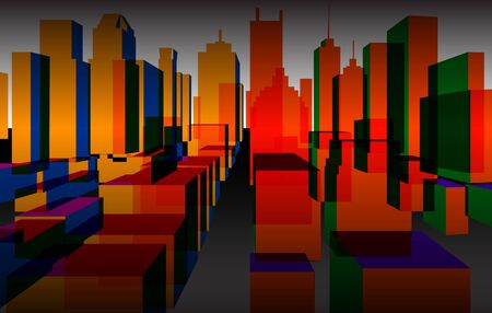 down town: Colorful downtown background, vector Illustration