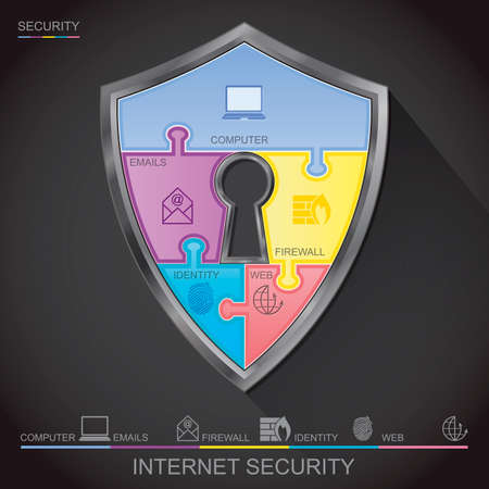 jig saw: Internet security shield puzzle with key hall, vector