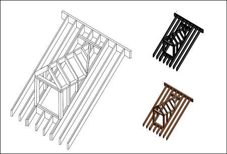 construcción buhardilla techo Ilustración de vector